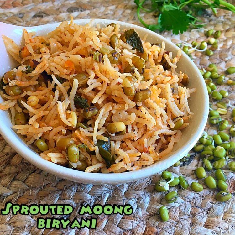 Sprouted moong biryani recipe, Moong sprouts biryani