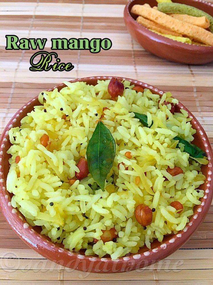 Raw mango rice recipe, Mamadikaya Pulihora