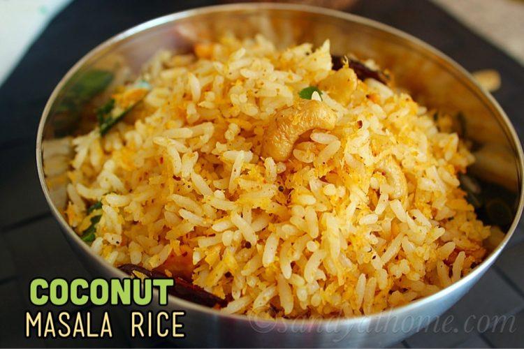 Coconut masala rice recipe, Thengai sadam