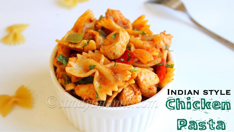 Chicken pasta recipe, Chicken masala pasta, Indian style chicken pasta recipe