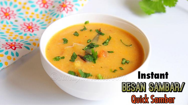 Instant besan sambar recipe, Kadalai mavu sambar, Quick tiffin sambar recipe
