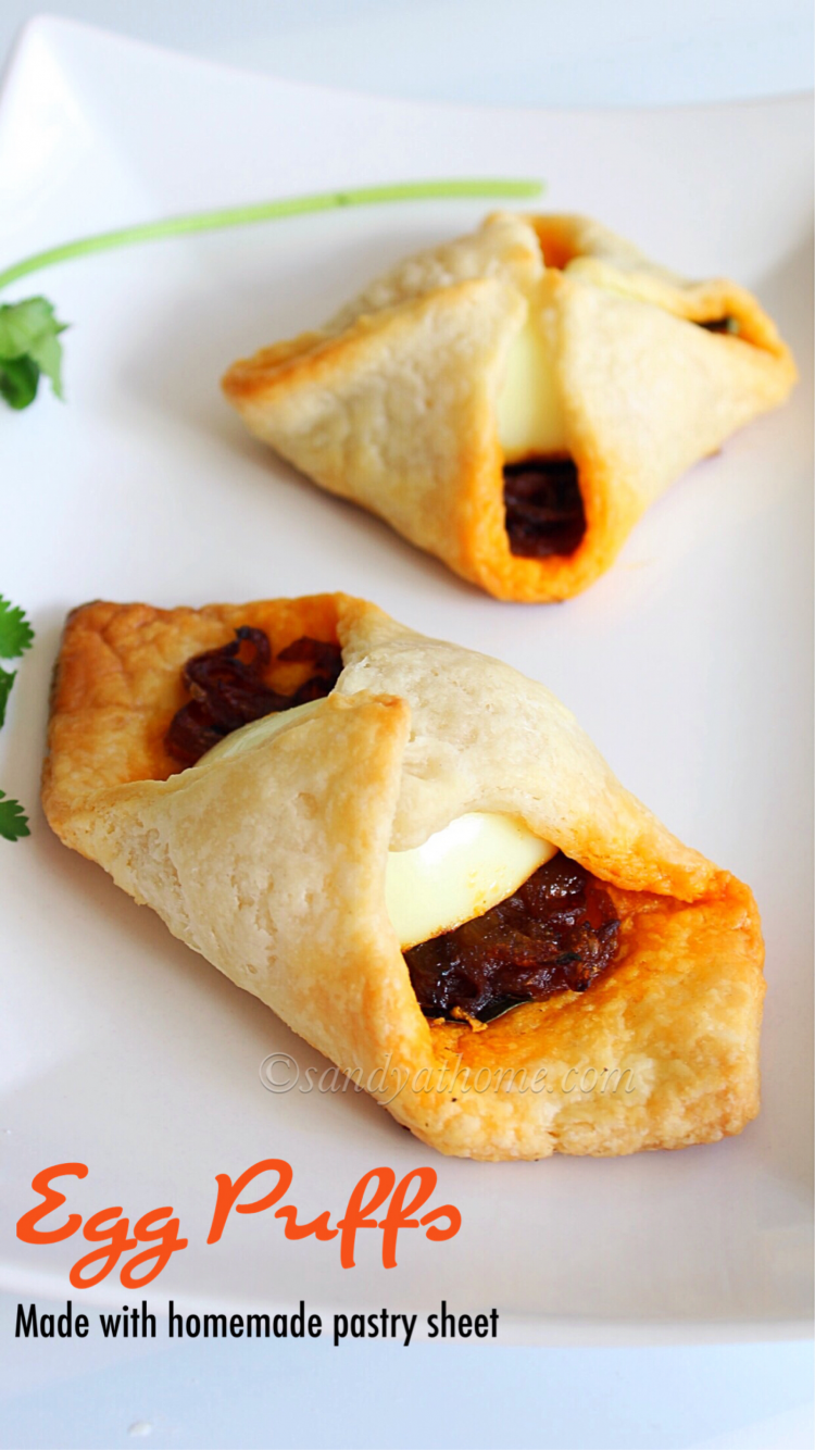 Egg puffs, Egg puffs with homemade puff pastry sheet, Easy egg puffs