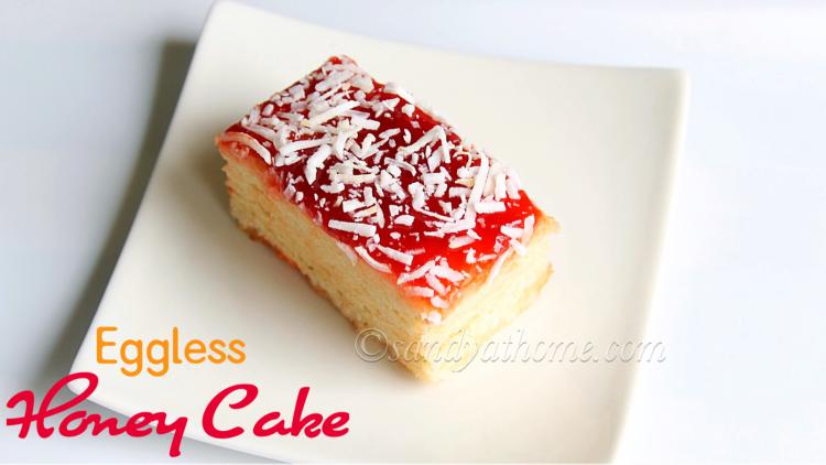 Eggless honey cake, Indian bakery style honey cake