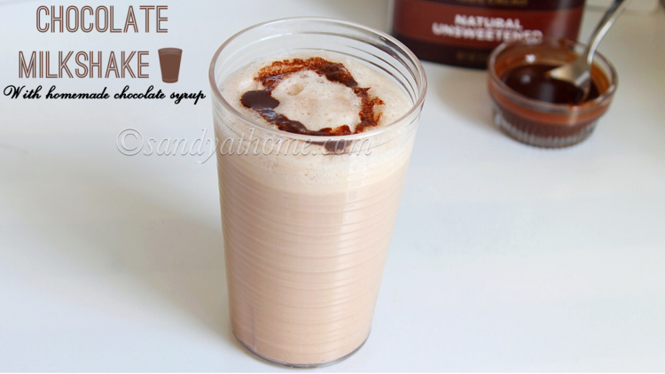 Chocolate milkshake, Chocolate milkshake with homemade chocolate syrup