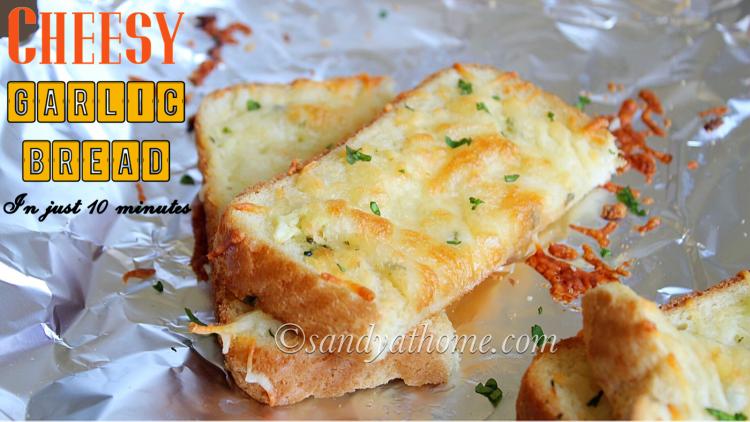 Instant cheesy garlic bread, Cheese garlic bread