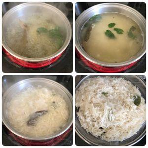 cooking rice for baked vegetable biryani