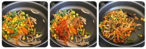 sauting onions for baked vegetable biryani