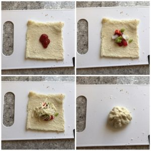 place the stuffing in rolled bread slices for bread pizza bombs