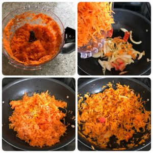 add carrot and saute for iyengar bakery style masala bread