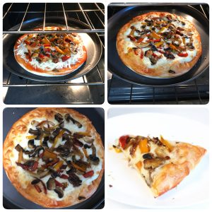 bake mushroom pizza and slice and serve