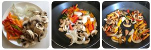 saute vegetables for mushroom pizza