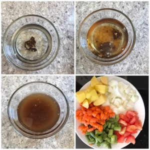 soak tamarind ans chop vegetables