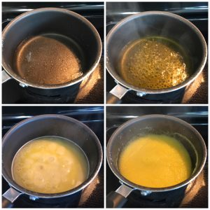 add rava to boiling water for kesari bath
