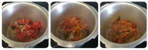 saute tomato for soya chunk kurma