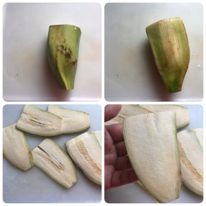 slice plantain for vazhakkai bajji