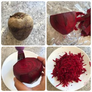 wash, peel and grate beetroot