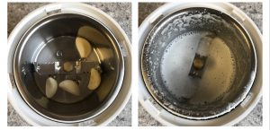 grind garlic adding little water for garlic karasev