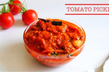 instant tomato pickle recipe, tomato pickle, thakkali urugai
