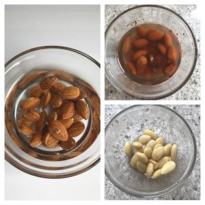 Soak almonds in water and peel the skin