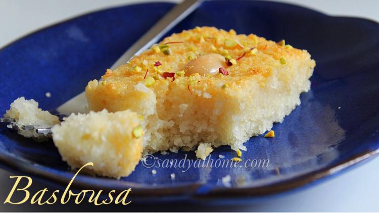 Basbousa, Eggless Basbousa, Arabic semolina cake