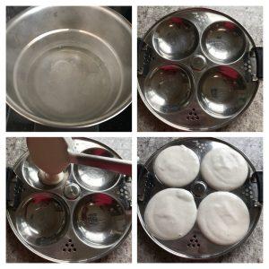 Pour idli batter in idli mold