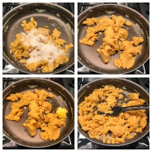 Add sugar and cardamom powder to halwa