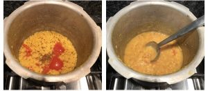 mash cooked toor dal